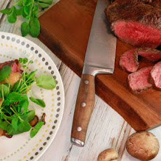 Sliced Steak and HP Mushrooms on Toast with Welsh Rarebit Sauce and Watercress