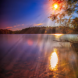 Morning Sunrays by Darren Breckles - Landscapes Sunsets & Sunrises ( waterscape, cpl filter, sunflare, lake, wet reflection, sunrise, nd filter )
