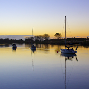 Sunset in Whakatane by Venetia Featherstone-Witty - Landscapes Waterscapes ( water, waterscape, sunset, boats, reflections, lake, whakatane, new zealand, , device, transportation, Earth, Light, Landscapes, Views, relax, tranquil, relaxing, tranquility )