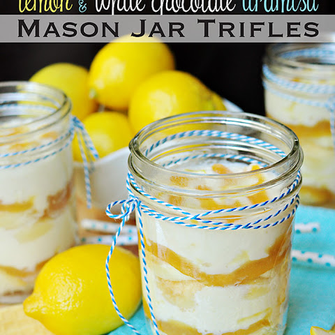 Lemon & White Chocolate Tiramisu ~ Mason Jar Trifles
