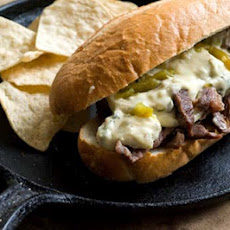 Green chile cheese steak sandwich