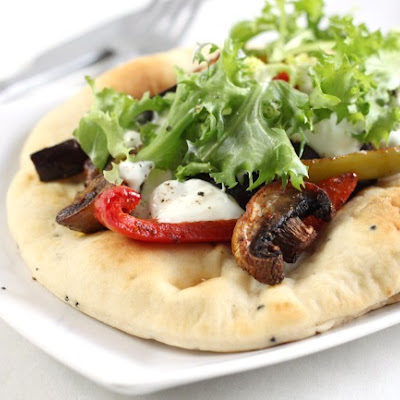 Curried vegetable flatbreads with Greek yogurt