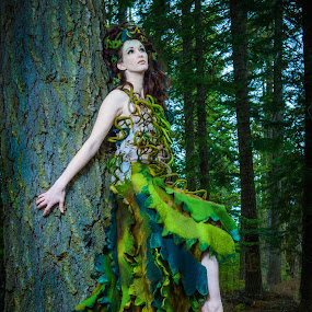 Awakening in the Wood by Jim Harmer - People Fashion ( oregon, fashion, model, lighting, heather floyd, wood fairy, costume, forest, felt dress )