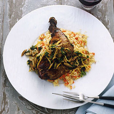 Crispy Chicken Leg Confit with Couscous and Olives