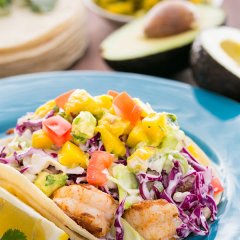 Shrimp Tacos with Coconut Coleslaw & Mango Salsa