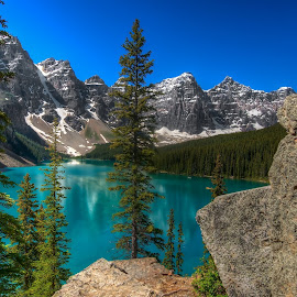 Morraine Lake, BC Canada by Stuart Clark - Landscapes Mountains & Hills ( glacier, mountains, canada, morraine, lake, british columbia )