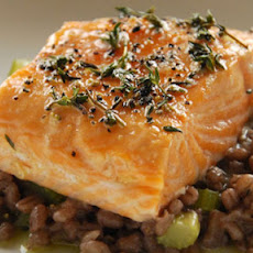 Slow Roast Salmon With Red Wine Barley Risotto