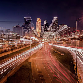 The Minniapple by Doug Wallick - City,  Street & Park  Skylines ( blurred, skyline, minnesota, minneapolis, intentional, streaks, light trails, lines,  )