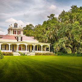 Joseph Jefferson Mansion by Sheldon Anderson - Buildings & Architecture Homes ( home, rip van winkle, jefferson island, moss, victorian, trees, joesph jefferson, historic )