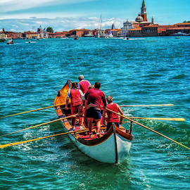 Row to Venice by Andrea Conti - City,  Street & Park  Vistas ( venezia, water, waterscape, transport, venice, sea, regata, cityscape, boat, watersccape, italy, row )