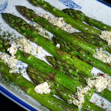 Roasted Asparagus Sprinkled With Feta, Olive Oil and Dill