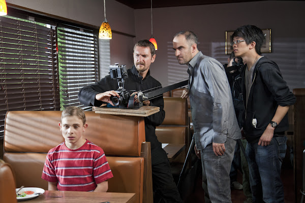 "Matt Laird as ""Young Repair Man"" in ""Repair Man"" (foreground), with MIchael Julian Berz (Director of Photography), Andy Thompson (Director) and Willy Wong (Camera Assistant).  Costumes and Art Direction by Enigma Arcana.  Bettina Strauss photo (www.best-foto.com)."