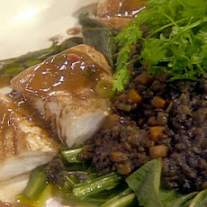 Steamed Cod with Warm Lentils and Wilted Dandelion Greens