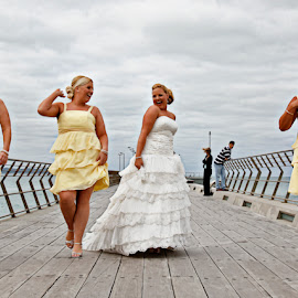 Dance Moves by Alan Evans - Wedding Groups ( dancing, wedding photography, great ocean road, yellow dresses, aj photography, lorne wedding photographer, wedding dress, ocean, great ocean road wedding photographer, bridesmaids, dance moves, wedding, wedding day, pier, bride, dance )