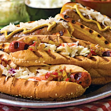 Spicy Hot Brat Sandwiches with Cool Creamy Salsa