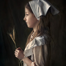 Maidservant by Danica Sherry - Babies & Children Child Portraits ( natural light, girl, painterly, child portrait, vermeer fan,  )