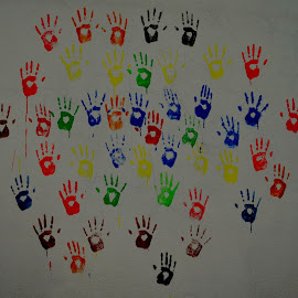 Hand prints on the wall  by Yashoda Patil - Artistic Objects Antiques