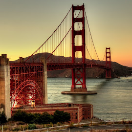 Golden Hour at the Golden Gate by Madhujith Venkatakrishna - Buildings & Architecture Bridges & Suspended Structures