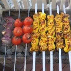 Barbecued Curried Chicken and Mushroom Kebabs