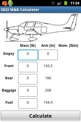 Cirrus SR-22 Mass Balance
