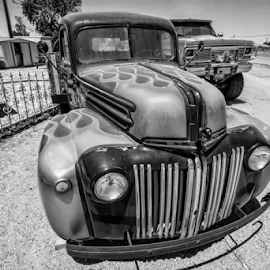 Antique Truck Black and White by Michael Moriarty - Transportation Automobiles ( black and white, truck, vehicle, bw, auto, transportation, antique, classic )