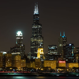 Sweet Home Chicago by Adrian Levrero - City,  Street & Park  Skylines ( skyline, night photography, night lights, skyscrapers, street, night, chicago, night shot, nightscapes, nightscape, street photography )