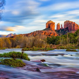 Cathedral Rock by Justin Lingana - Landscapes Mountains & Hills ( water, mountain, red, rock, sedona )