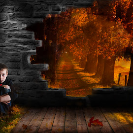 Fall boy by Antoinette Struwig - Digital Art People ( portraiture, red, brick, fall, yellow, leaves, boy,  )