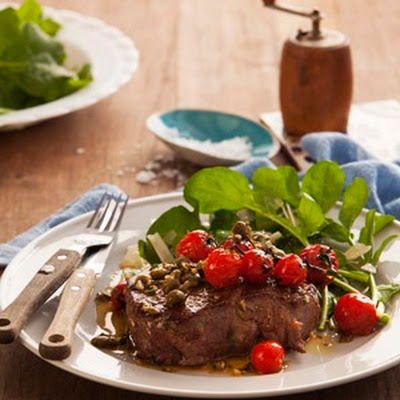 Rib-eye Steak With Pan-fried Tomatoes