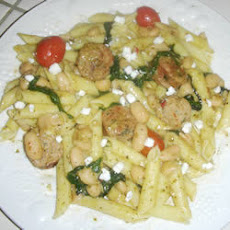 Smoked Sausage and Goat Cheese Pasta