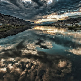 Morning Reflections by Garry Dosa - Landscapes Waterscapes ( clouds, blue, 2014, reflections, sunrise, morning, river,  )