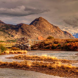 Estancia Cristina - Waterwheel 2 by Gary Aidekman - Landscapes Mountains & Hills ( argentina, mountain, patagonia, waterwheel, river )