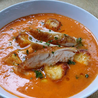 Spicy Low-Carb Roast Chicken & Tomato Soup with Halloumi Croutons
