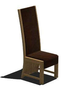 3D Drawing of a Leather Upholstered Dining Chair in American Black Walnut