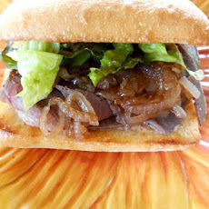 Grilled Flank Steak Sandwich with Sweet Onion Marmalade and Pear Horseradish Mustard