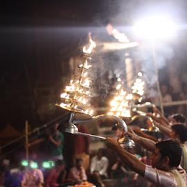 Ganga Aarti, Varanasi by Anand Prakash - People Musicians & Entertainers ( ganga, prayer, anand prakash, spiritual, faith, aarti, ganaga, power, india, varanasi, uttar pradesh, fire )