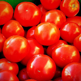 Market Tomatos by Sue Delia - Food & Drink Fruits & Vegetables ( red, market foods, tomatos,  )