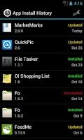 Screenshot of App Install History