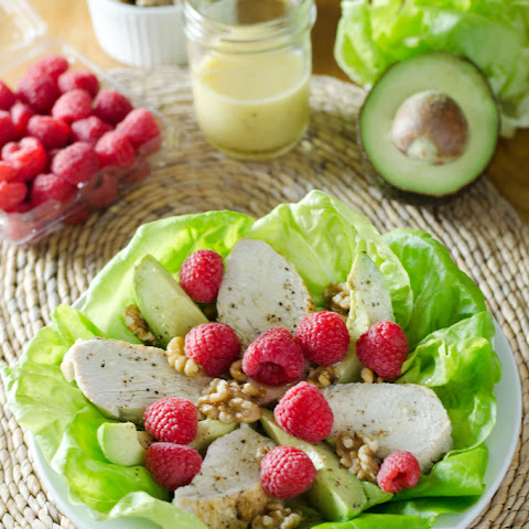 Turkey & Raspberry Salad with Walnut Vinaigrette