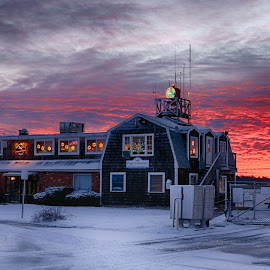 Dramatic Dawn -Plymouth Mass by Alan Roseman - Landscapes Sunsets & Sunrises ( airport, aviation, dawn, red skies, new england, red sky, plymouth, golden hour )