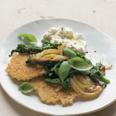 Brown-Rice Cakes with Sauteed Fennel, Broccoli Rabe, and Ricotta