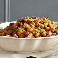 Corn Bread and Ham Stuffing with Caramelized Apples and Fennel