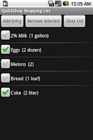 Screenshot of QuickShop Shopping List