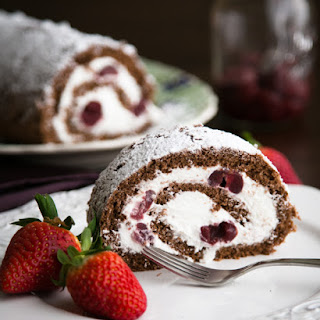 Chocolate Cherry Roll with Rum Cream ~ A Video