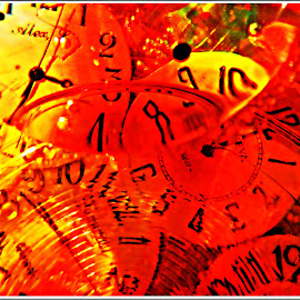 Time and Time Again by Kathy Hancock - Abstract Macro ( water, abstract, macro, clock faces, glass, refractions, oil )