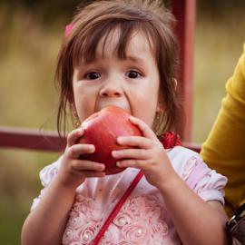 bit by Keith Homan - Babies & Children Children Candids ( child, female, bite, apple, candid, surprised, young )