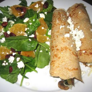 Whole Wheat Crepes with Spinach and Mushrooms