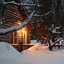 Cozy Cabin by Faith Mayer - Buildings & Architecture Homes ( home cabin light )