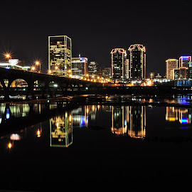 Richmond VA Skyline by Stacy Abbott - City,  Street & Park  Skylines ( lights, skyline, reflection, richmond, night, va, river, city )
