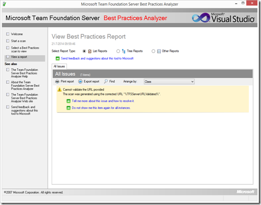 "TFS Best Practice Analyzer fails with ""Cannot validate the"